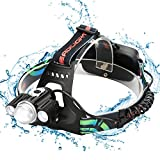 Zglon Brightest Tactical LED Headlamp, 3000 Lumen Headlamps Flashlight, Waterproof Zoomable Headlight with 7 Light Modes, 2 Rechargeable Batteries, USB Charging Cable and Bicycle Headlamp Holder