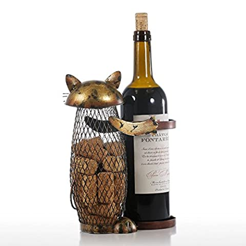 Tooarts Cat Wine Holder Cork Metal Wine Barrel Cork Storage Cage Table Cork Container Ornament