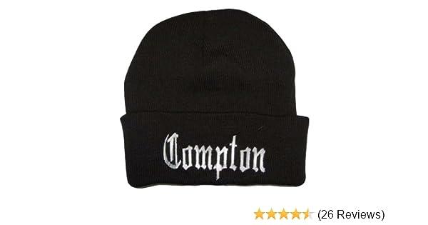 569ed8bcbd8 Amazon.com  City Compton Eazy E Los Angeles Beanie (White Embroidery)   Clothing