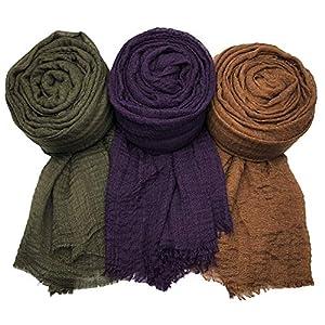 MANSHU 3PCS Women Soft Cotton Hemp Scarf Shawl, Scarf and Wrap, Big Head Scarf