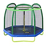 Clevr 7 ft Small Kids Trampoline and Safety Enclosure Net & Spring Pad, Outdoor Round Bounce Jumper 84' Indoor/Outdoor