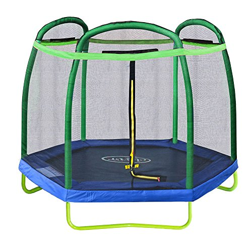 Clevr 7ft Kids Trampoline and Safety Enclosure Net & Spring Pad, 7-Foot Outdoor Round Bounce Jumper 84 Indoor/Outdoor, Built-in Zipper Heavy Duty Frame | Great Birthday Gift