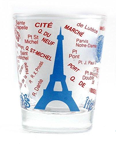 Map Of France Eiffel Tower.Amazon Com Paris France Eiffel Tower And Map Blue Shot Glass Bar