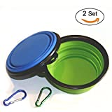 Sumdreams Collapsible Camping Travel Dog Bowl Folding Silicone Dog Pet Cat Travel Water Food Bowl Dish Feeder Set of 2 Green and Blue