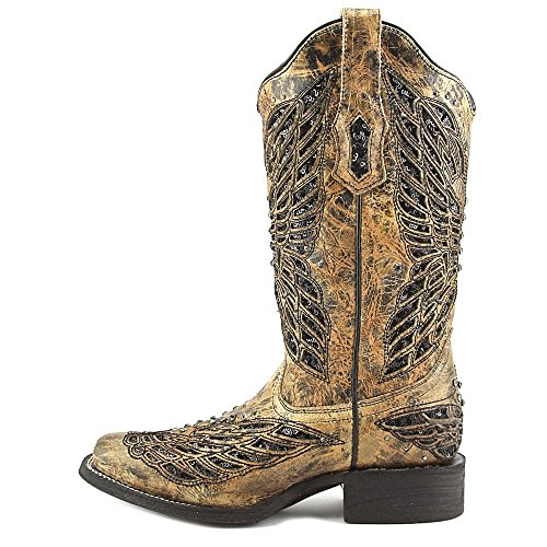 Corral Womens Paillettes Paillettes Incrustation Botte Cowgirl Bout Carré - R1226 Tan