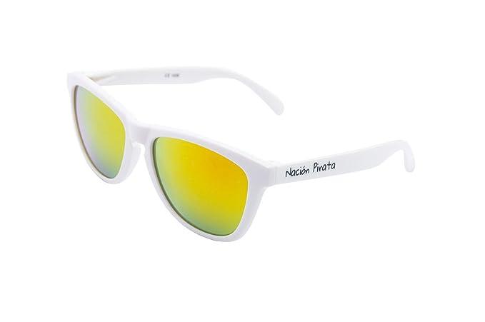 Nación Pirata - Gafas de Sol Policarbonato- Filtro UV400, Efecto Espejo naranja, montura