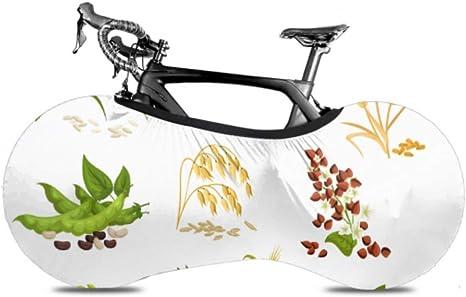 Cubierta de la rueda de bicicleta Cereales Iconos Granos Plantas Trigo Antipolvo Bicicleta Bolsa de almacenamiento interior A prueba de arañazos, Lavable Paquete de llantas de alta elasticidad Carretera Mtb P: Amazon.es: