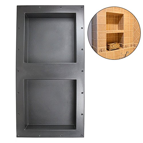 32″ x 16″ Double Recessed Shelf Shower Niche - Shower Cube Ready for Tile Waterproof Leak-proof Bathroom Indoor Recessed Niche Storage Washing Toiletries Bottles by Suteck