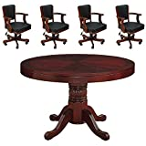 English Tudor 48'' 2 in 1 Game Table and 4 Matching Chairs
