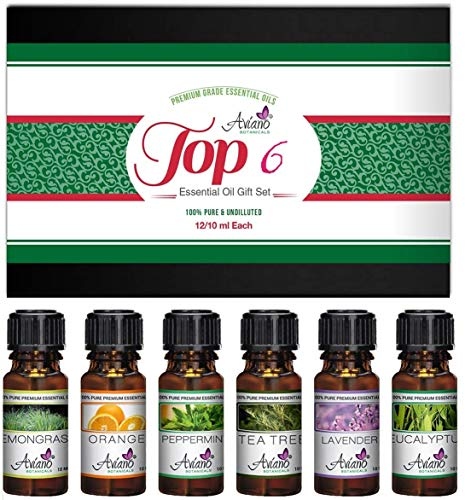 Top 6 Essential Oils Gift Set for Diffuser - Christmas Gifts for Mom, Wife, Women, Grandma, Her for Aromatherapy by Aviano Botanicalsm (Best Oil Diffuser 2019)