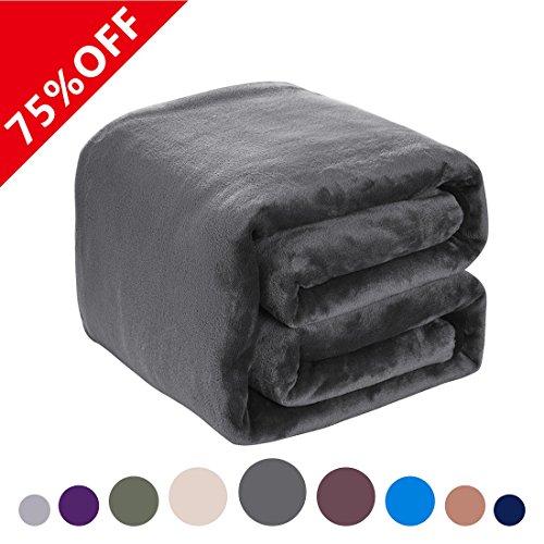 Fleece Blanket 380 GSM Anti-static Super Soft Lightweight Warm Fuzzy Bed Blanket by Dream Fly Life (King, Dark (Fleece Clearance)