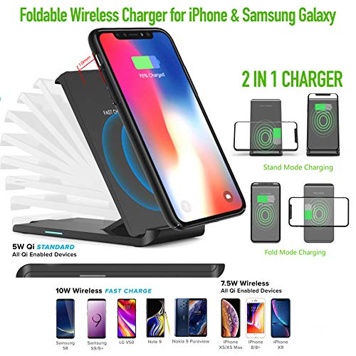 (Premium-Plus Fast Foldable Wireless Charger, 10W Wireless Charging Stand, Qi-Certified, Compatible iPhone XR/Xs Max/XS/X/8/8 Plus, Fast-Charging Galaxy S10/S9/S9+/S8/S8+ and More, No AC Adapter)