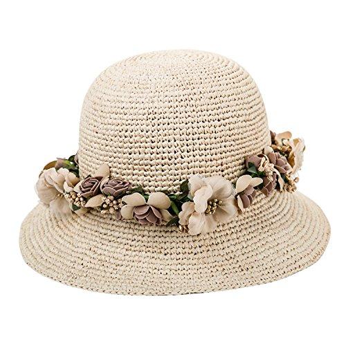 Sedancasesa Women's Crocheted Packable Raffia Straw Hat Summer Beach Sun Hats