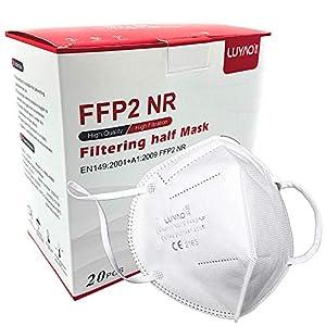 Lot de 20 masques de protection FFP2 – Certifié CE 2163 – Blanc