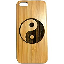 Yin Yang iPhone 5C Bamboo Wood Case Cover. Chinese Symbol Engraved on Eco-Friendly Bamboo Skin.