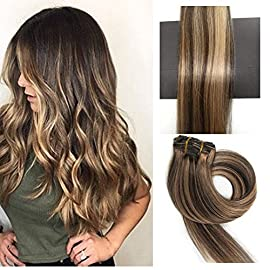 TheFashionWay Brazilian Human Hair Extensions Clip in Silky Straight Weft Remy Virgin Hair (15 inches, 1)