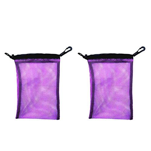 Regulator Gear Bag - MonkeyJack Pack of 2 Water Sports Scuba Diving Snorkeling Swimming Gear Mask Regulator Snorkel Mesh Net Travel Bag with Cord Closure and Snap Clip - Purple