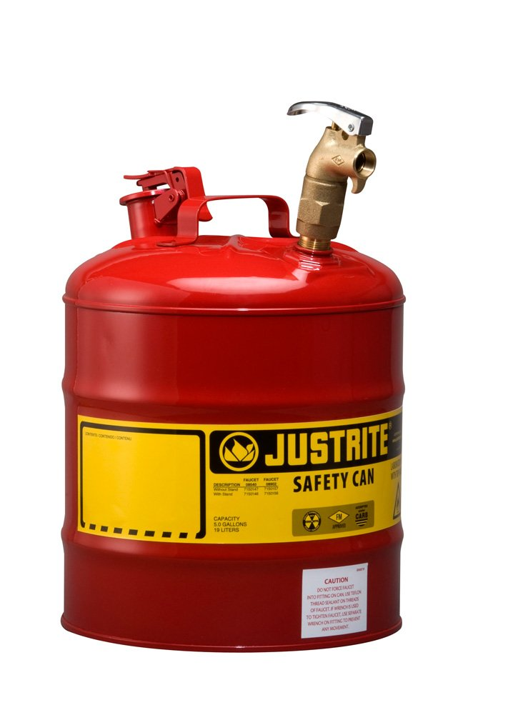 Justrite 7150157 Type I Galvanized Steel Laboratory Safety Can with Rigid Brass Safety Top Faucet, 5 Gallon Capacity, Red