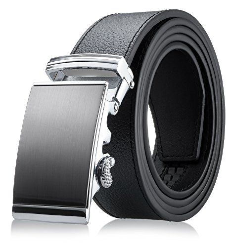 Buckle Genuine Belt Black (Men's Genuine Leather Belt- Ratchet Black Dress Belt for Men with Automatic Buckle. (Up to Size 46, Black Belt with Buckle #02))