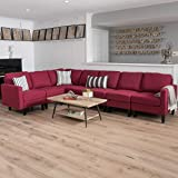 Cheap Bridger 7 Piece Deep Red Fabric Sectional Couch