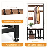 ODK Coat Rack Shoe Bench High Tree with Storage
