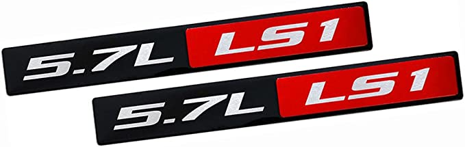 2pcs LS1 5.7L V8 RED Engine Emblems Badges Highly Polished Aluminum Chrome Silver Compatible for Pontiac Trans Am Firebird Chevy Corvette C5 ZR1 Camaro Holden Special Vehicles HSV LS1 red