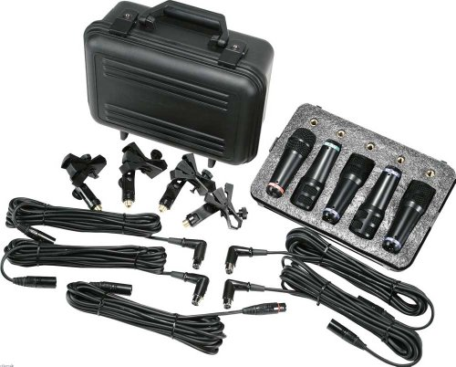 Drum Kit Sounds - Peavey Drum Microphone Kit w/5 Drum Mics Including XLR Cables, Clamps, and Carrying Case