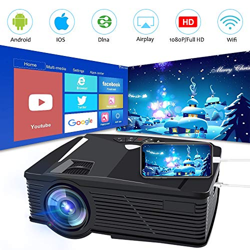 (Neefeaer WiFi Wireless Projector, Mini Video Projector LCD Portable Movie Projector for Home Outdoor WiFi Directly Connect Smartphone 50% Brighter 1080P HD, Support HDMI USB AV VGA)