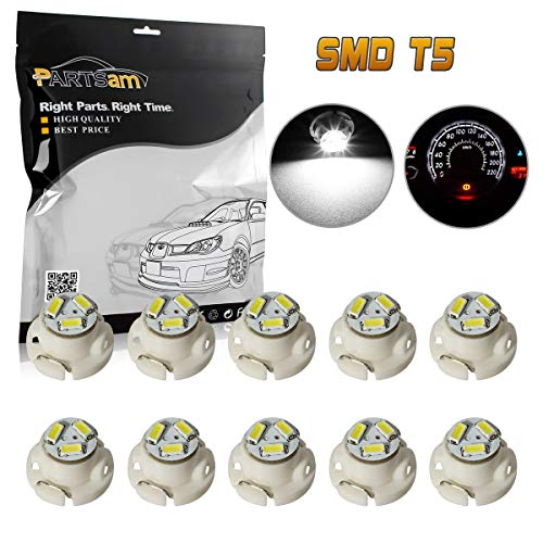Partsam 10x White 12mm 12V 3 SMD LED T5 Neo Wedge Bulbs Auto A/C Climate Lights (Ram 2007 1500 Dash)