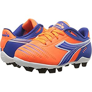 Diadora Kids Unisex Cattura MD Jr Soccer (Toddler/Little Kid/Big Kid) Orange/Blue 10 Toddler M
