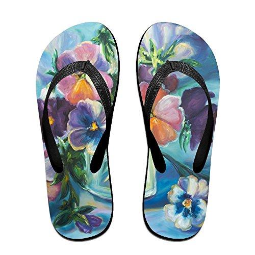 Oil Women Slippers Painting for Flip Kids Flowers Men Black PTJHKET Flops fxqnZ7HEw