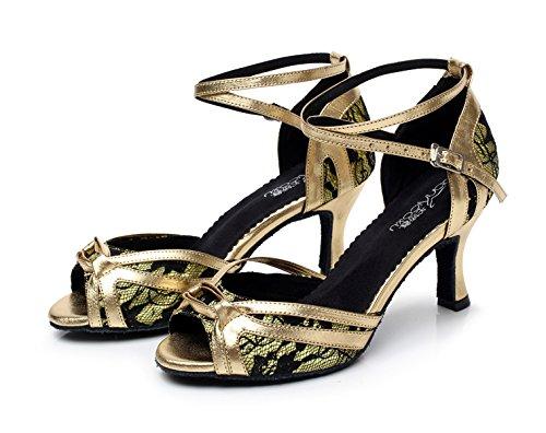JSHOE Chaussures De Danse Pour Femme Latin Salsa/Tango/Thé/Samba/Moderne/Jazz Chaussures Sandales Talons Hauts,Gold-heeled7.5cm-UK4/EU35/Our36