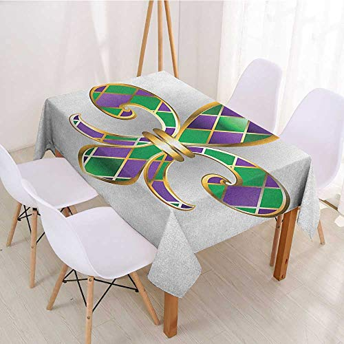 (Wendell Joshua Restaurant Tablecloth Fleur De Lis,Gold Colored Lily Symbol with Diamond Shapes Royalty Theme Ancient Art,Gold Purple Green,for Home & Office & Restaurant Table Tea Table 60