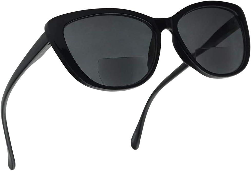 Women's Bi-Focal Cat Eyes Sun Readers Fashion Inspired Rx Prescription Spring Hinge Sunglasses (Black Frame, 1.75)