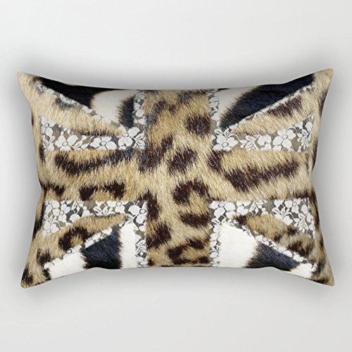 Union Square Print (UOOPOO Wild | Hipster Leopard Print Zebra UK Union Jack Flag Throw Pillow Case Square 12 x 18 Inches Soft Cotton Canvas Home Decorative Wedding Cushion Cover for Sofa and Bed One Side)