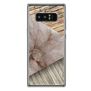 samsung Galaxy Note 8 Transparent Edge Wood and Marble Pattern 3 Tone Mix - Rugged Slim Profile Clear Phone Cover