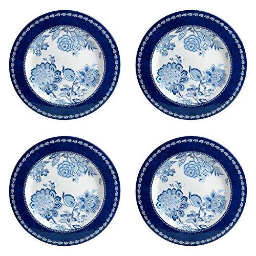 Waverly Floral Melamine Round Dinner Plates, Set of 4 (Blue/White Floral) (Plates Blue And White Floral)
