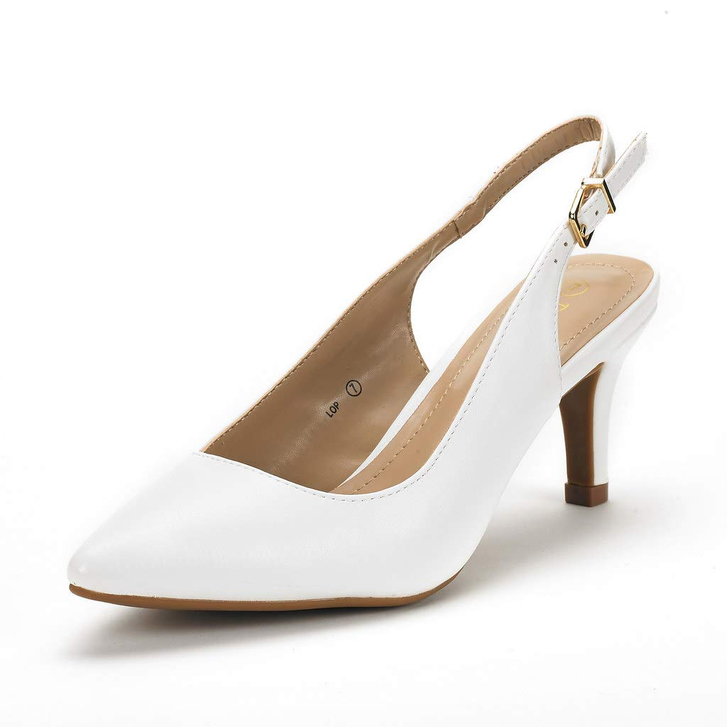 DREAM PAIRS Women's Lop White Pu Low Heel Pump