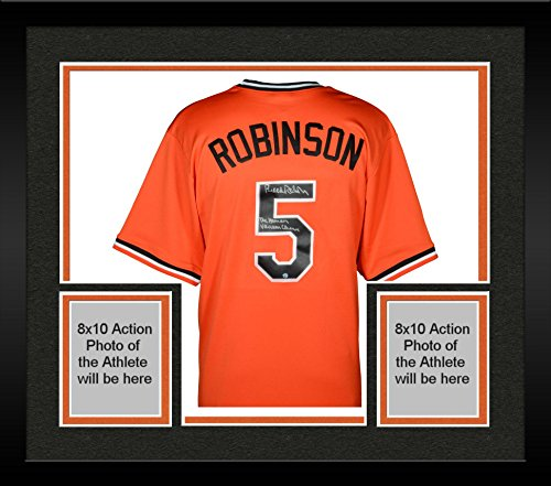 Baltimore Orioles Brooks Robinson Framed (Framed Brooks Robinson Baltimore Orioles Autographed Orange Throwback Jersey with Human Vacuum Cleaner Inscription - Fanatics Authentic Certified)