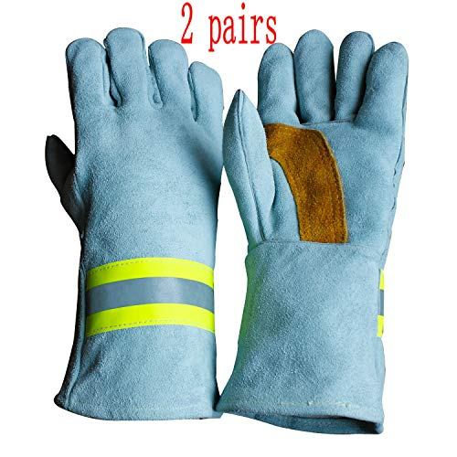 - High Visibility Welding Gloves With Reflective Strip Heat and Fire Resistant Reflective Aluminum Cowhide Safety Gloves 2 Pairs 14