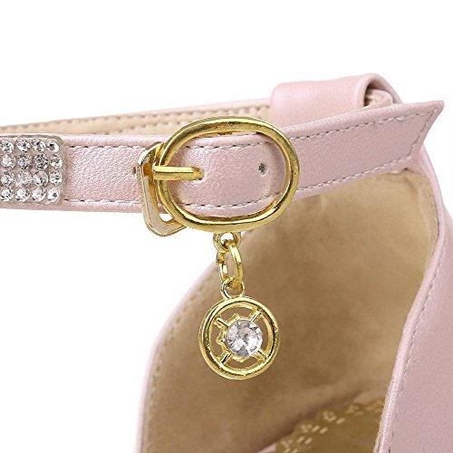 AllhqFashion Mujeres Puntera Abierta Tacón ancho con Diamante de Imitación Sólido Sandalia Rosa