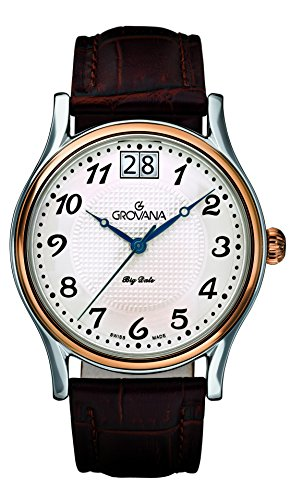Grovana Men's 1727-1559 Traditional Analog Display Swiss Quartz Brown Watch