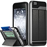 iPhone 6S Plus Wallet Case, Vena [vCommute][Drop Protection] Flip Leather Cover Card Slot Holder with Kickstand for Apple iPhone 6 Plus / 6S Plus (Space Gray/Black)