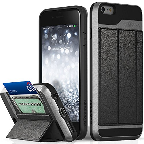 iPhone 6S Plus Wallet Case, Vena [vCommute][Drop Protection] Flip Leather Cover Card Slot Holder with KickStand for Apple iPhone 6 Plus / 6S Plus (Space Gray / Black) by Vena