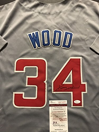 Autographed/Signed Kerry Wood Chicago Cubs Grey Baseball Jersey JSA COA Chicago Cubs Kerry Wood