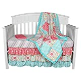 Gia Floral Coral and Aqua Baby Crib Bedding - 21 Piece Nursery Essentials Set