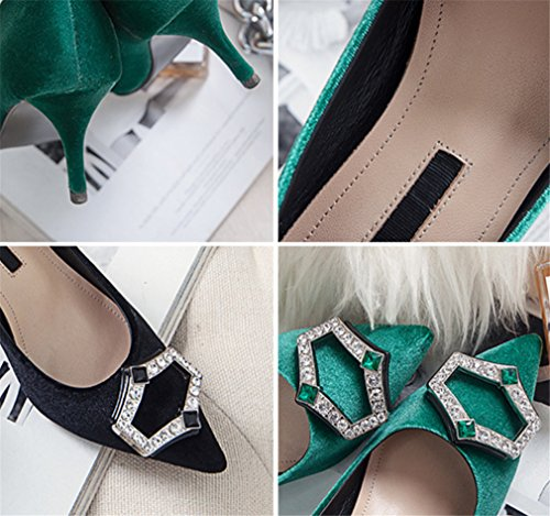 Strass EU38 Saisons LUCKY Heel Strass Bridal Plus Surdimensionné Size Bureau Femme Hippie A Fille Chaussures Heels CLOVER Dames 4 Sized Stiletto pour Style Green High Sandales qOA40O