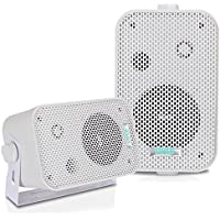 2Pc Outdoor Weatherproof Speaker System - 3.5 Inch Dual Waterproof Wall or Ceiling Mounted Speakers w/Heavy Duty Grill, Universal Mount - For Pool, Patio or Indoor Use - Pyle AZPDWR30W (White)