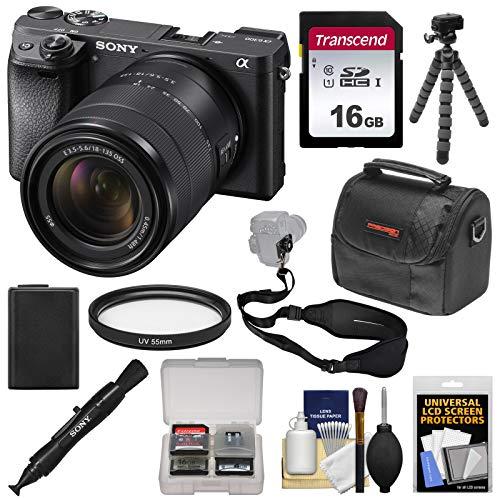 Sony Alpha A6300 4K Wi-Fi Digital Camera & 18-135mm Lens (Black) with 16GB Card + Case + Tripod + Battery + Kit