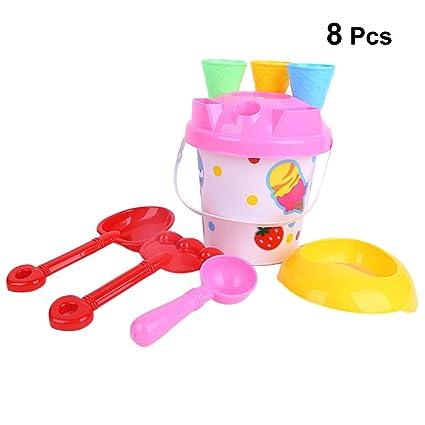 b2851ebbe0 TOYANDONA 8 pcs Sand Tool Toys Beach Set Multicolor Creative Sand Mold Kits  with Shovel and Bucket for Pools Backyard and Sandbox (Random Color):  Amazon.in: ...